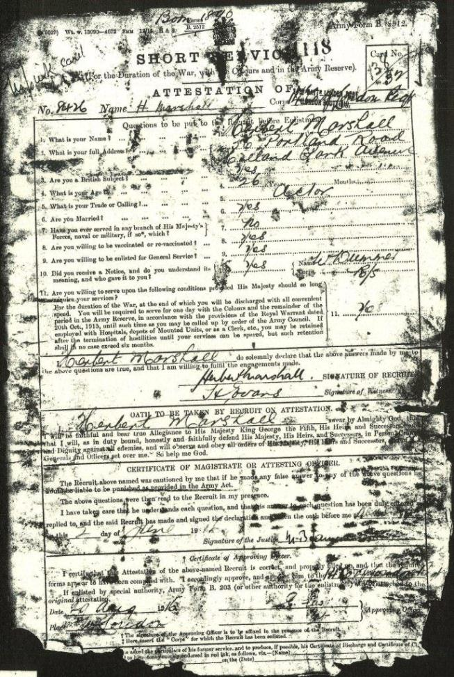 Herbert Marshall attestation First page of attestation form of Private Herbert Marshall, 14th Battalion, London regiment. Catalogue reference WO 364/5353