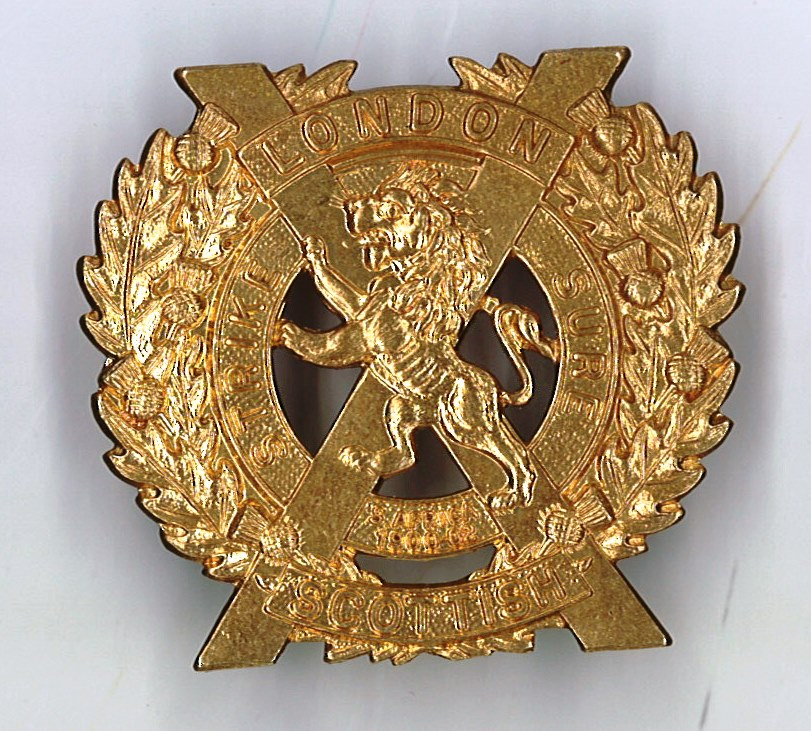Restrike of regimental cap badge for the London Scottish. Image courtesy James Cronan