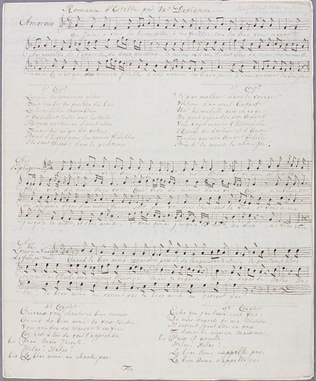 Sheet of music called 'Romances d'Estelle' by Mr Devienne. Catalogue reference: HCA 32/1048.