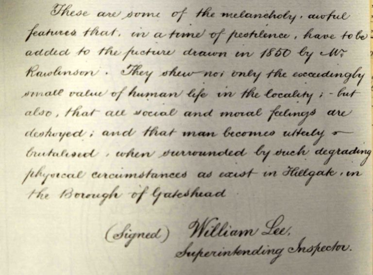 William Lee's concluding remarks on an inspection of Gateshead, Durham in 1853. Catalogue reference: MH 13/77/207.