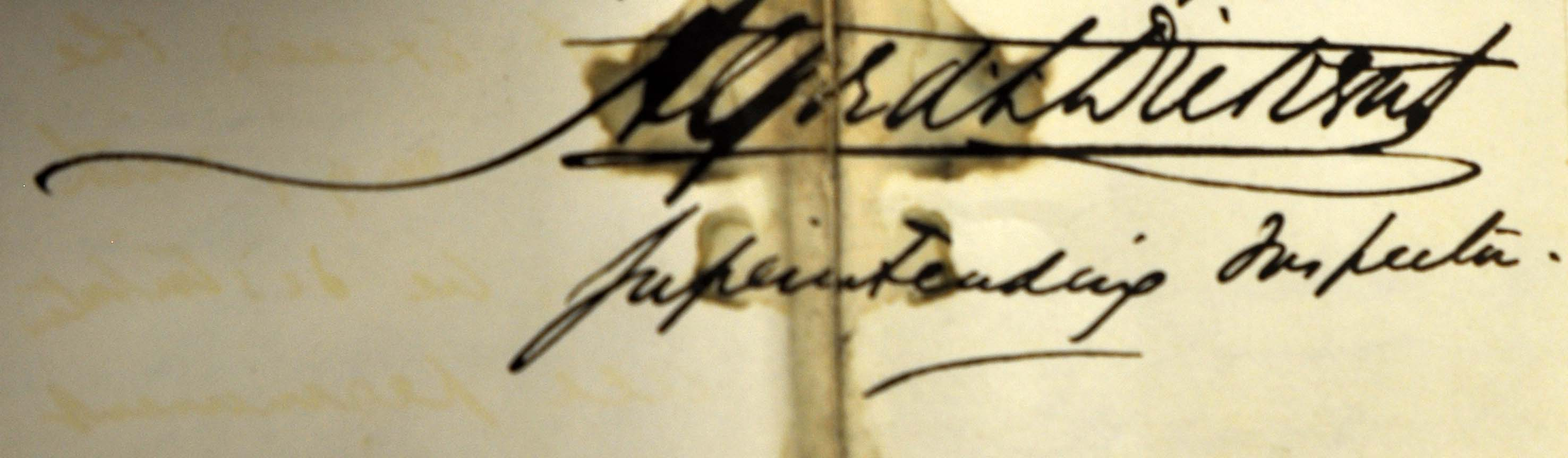 Signature of Alfred Dickens, superintending inspector and brother of Charles Dickens. Catalogue reference: MH 13/78/13