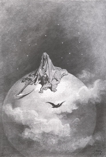 Illustration 11 of Edgar Allan Poe's Raven by Gustave Dore, under Creative Commons: vhttp://commons.wikimedia.org/wiki/File:Paul_Gustave_Dore_Raven1.jpg