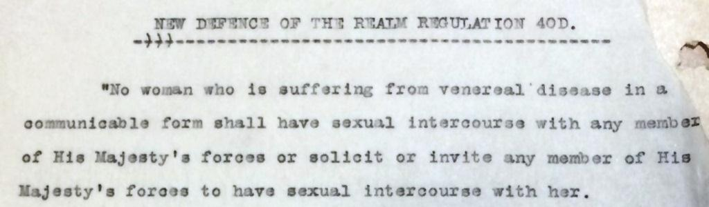 Image from Metropolitan Police file of the definition of Regulation 40D of the Defence of the Realm Act.
