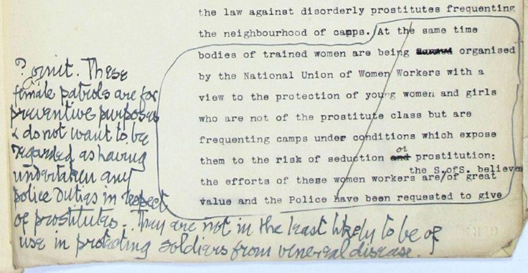 Image of a comment on a Home Office report concerning patrols by the National Union of Women Workers