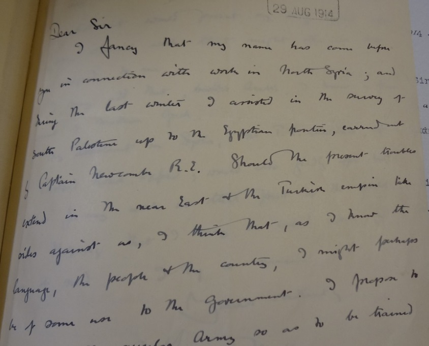 Woolley's letter to the Foreign Office, 29/08/1914. Catalogue reference: FO 371/2201.
