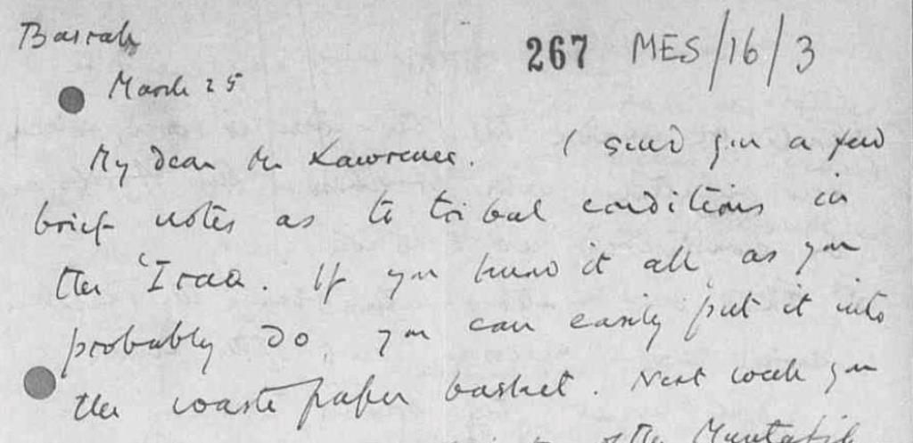 Gertude Bell to T. E. Lawrence, 25/03/1916. Catalogue reference: FO 882/13.