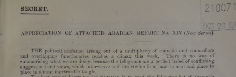 Sykes' Arabian Report, October 1916. Catalogue reference: FO 371/2781.