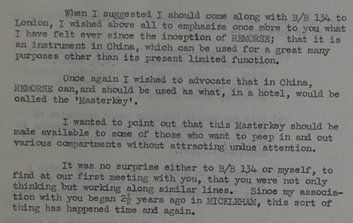 B.S. van Deinse's bold memo, describing Remorse's future potential as a 'Masterkey' in China. Catalogue Reference: HS 1/292.