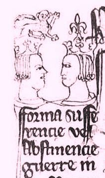 Marginal sketch on a copy of the truce made between England and France at Tournai, 1296-7. Catalogue reference E 368/69 m.54.