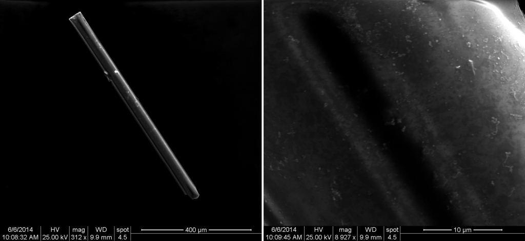 Figure 4. SEM images of a rod-shaped particle of quartz at approximately 300 (left) and 9000 (right) times magnification.