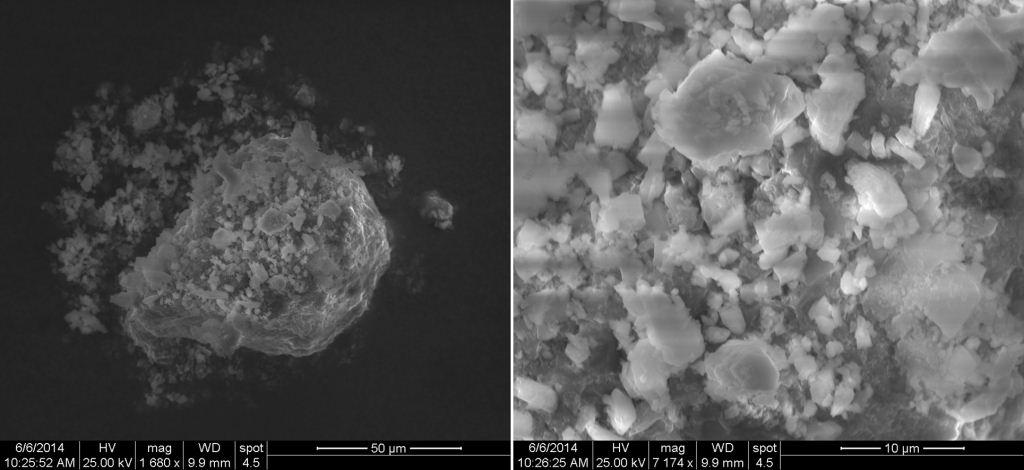 Figure 7. SEM images of an aggregate of calcium-rich particles such as calcium carbonate at approximately 1700 (left) and 7000 times magnification (right).