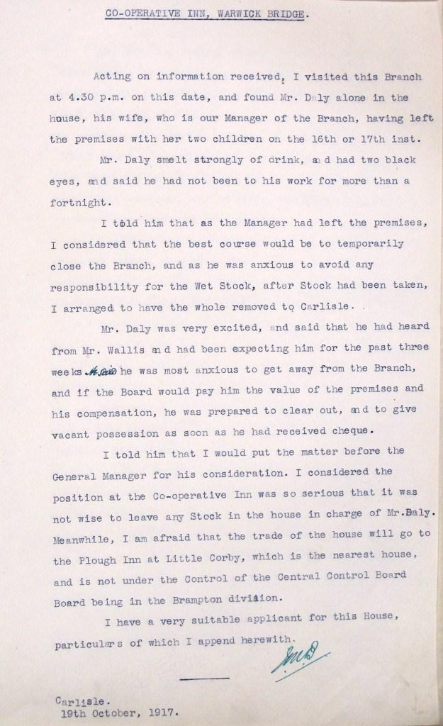 Letter describing a visit to the Co-operative Inn (catalogue reference: HO 190/1079)