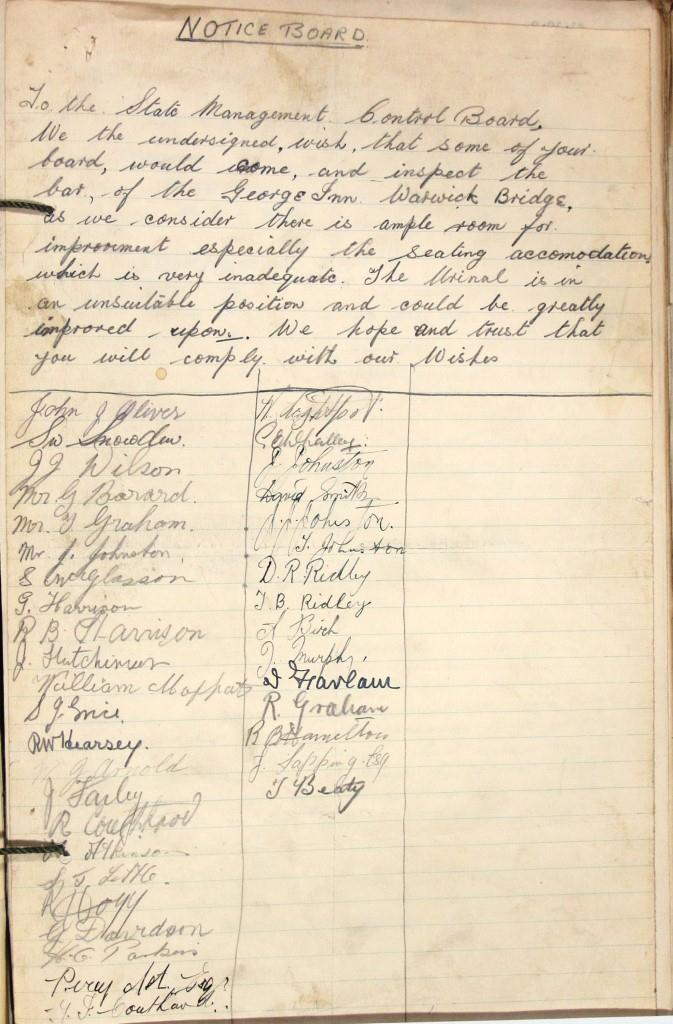Notice board petition (catalogue reference: HO 190/231)