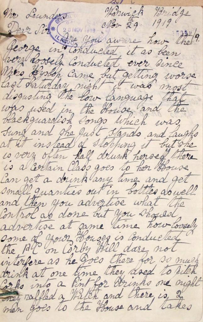 Letter complaining of behaviour at the pub (catalogue reference HO 190/231)