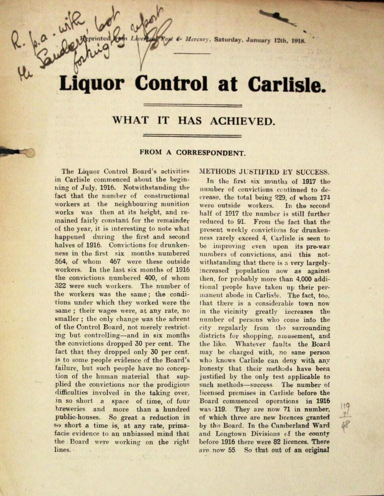 Article: 'Liquor control at Carlisle, what it has achieved' (catalogue reference HO 185/17)