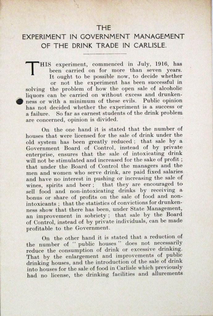 Article: 'The experiment in Government management of the drink trade in Carlisle' (catalogue reference HO 185/22)