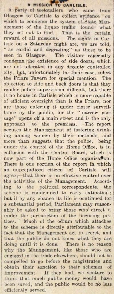 Article: 'A mission to Carlisle' (catalogue reference: HO 185/22)