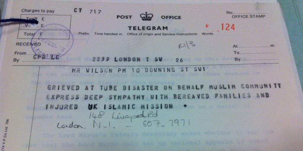 Telegram from the UK Islamic Mission. PREM 16/332.