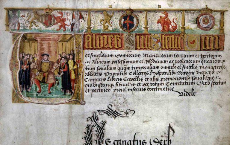 Valor Ecclesiasticus illuminated heading, catalogue reference: E 344/22 f2 (top)