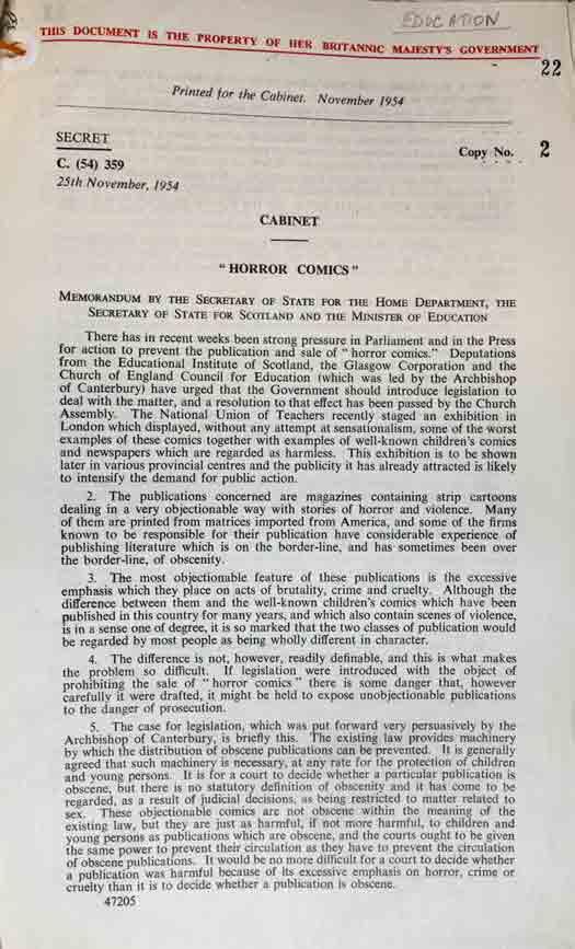 Memorandum on 'horror comics', catalogue reference: PREM 11/858
