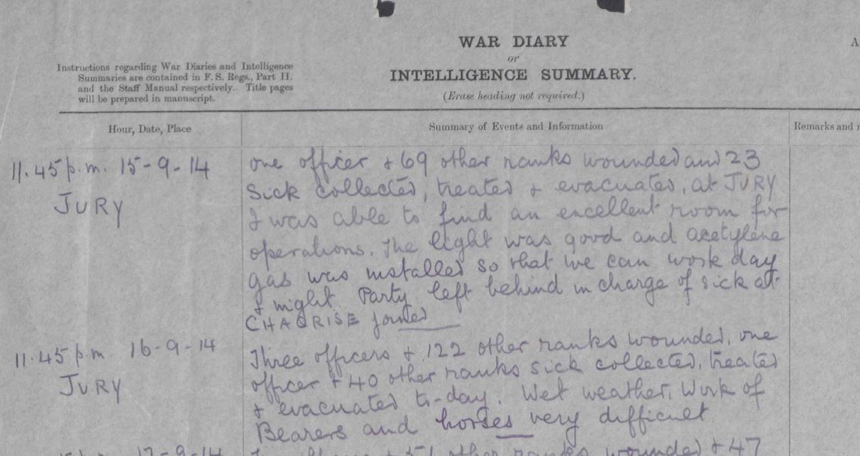 WO 95/1540/3: War Diary of 14 Field Ambulance.