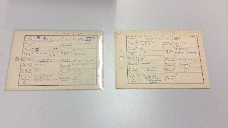 WO 345 paper index card in polyester preventing further damage (left) and one not (right)