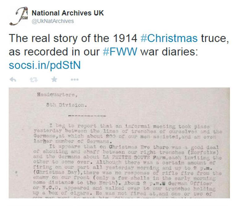 Screenshot of Christmas truce tweet
