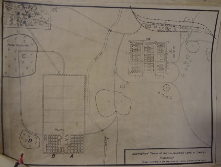 Topographical sketch of the concentration camp at Oświęcim. Catalogue Reference: FO 371/42806