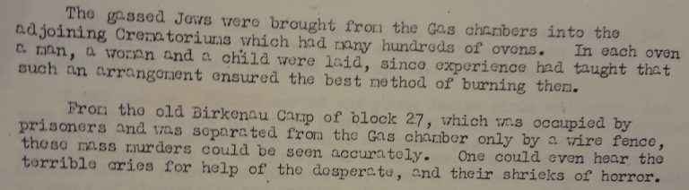 Statement from a former prisoner, August 1945. Catalogue reference: WO 309/2242.