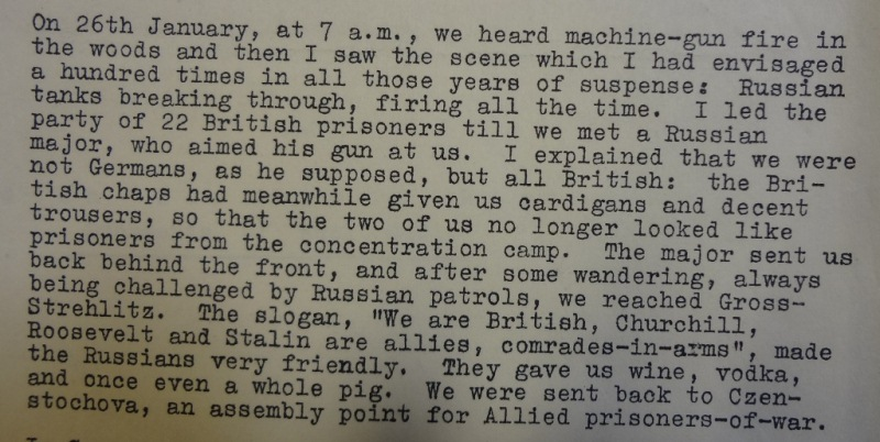 Statement from a prisoner who escaped during the Death March. Catalogue Reference: FO 371/46796