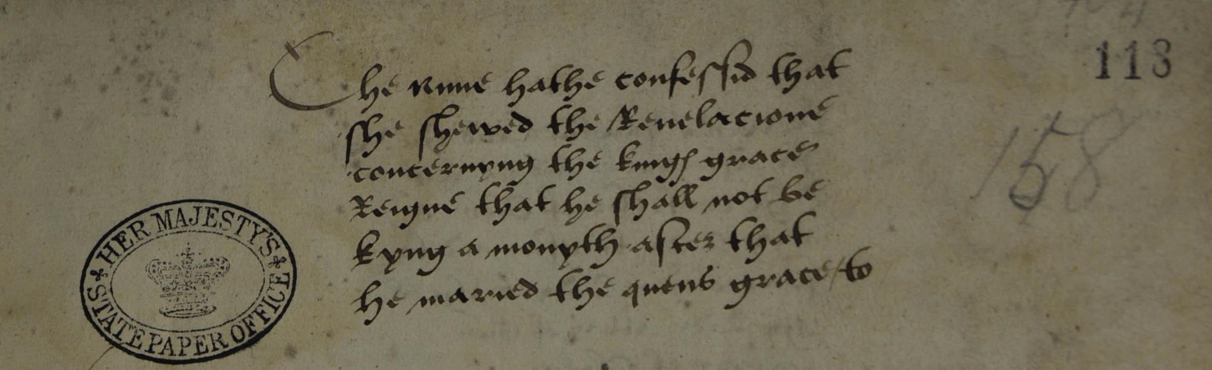 The case against Elizabeth Barton (SP 1/80 f.118).