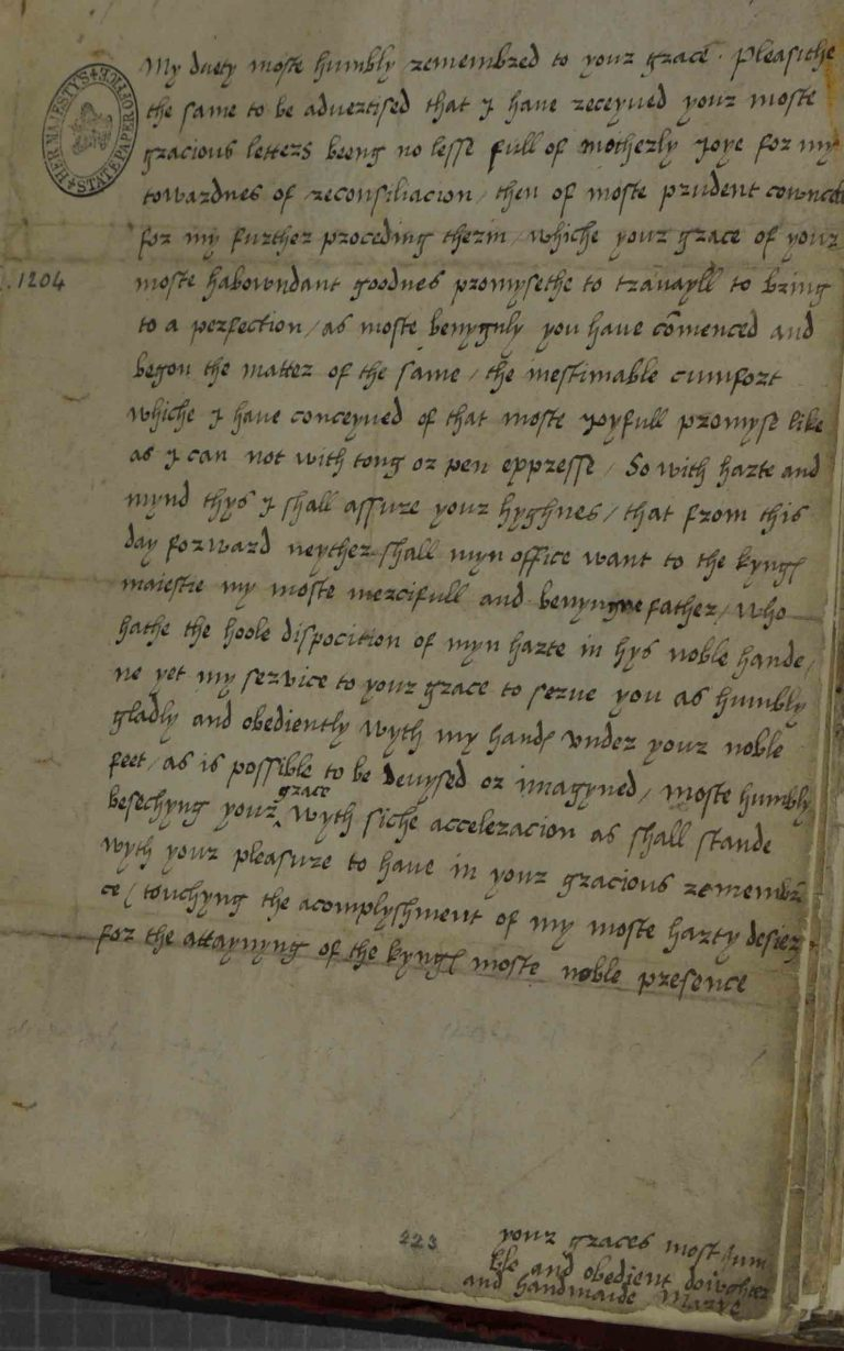 Letter from Princess Mary to her new stepmother, Jane Seymour (SP 1/104, f.204)