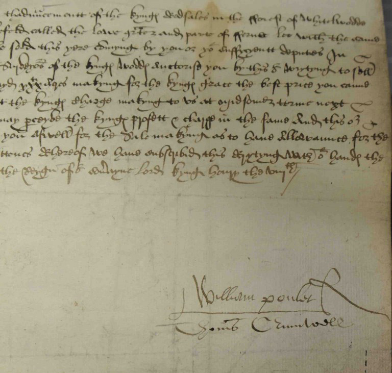 Cromwell signs his name 'Thomas Crumwell' (SP 1/81, f.32).