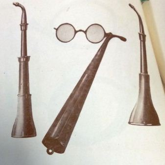 Image from the booklet 'Modern Deaf Appliances' depicting the ear trumpets, available in real and imitation tortoise shell and metal (catalogue reference: PIN 38/450)