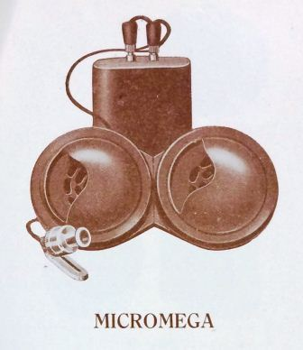 Image from the booklet 'Modern Deaf Appliances' depicting the Micromega model of hearing aid.  (catalogue reference: PIN 38/450)