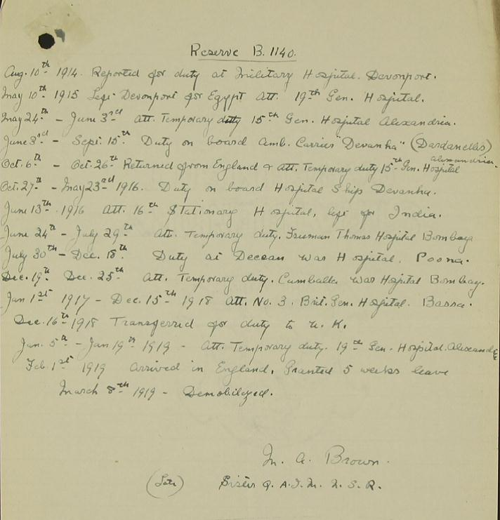 Excerpt from the service record of Mary Ann Brown, catalogue reference: WO 399/1023.