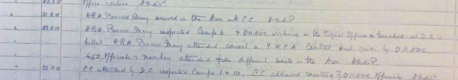 Excerpt from the war diary for Queen Mary's Army Auxiliary Corps: Area Controller Havre Area, 1917 June - 1919 September, catalogue reference: WO 95/85.