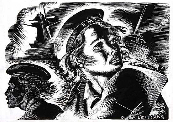Illustration of the Women's Royal Navy Service (WRNS) Artist: Olga Lehmann, 1939-1946 (catalogue reference: INF 3/686)
