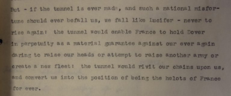 Wolseley's views on the Channel Tunnel, 5 February 1882. Catalogue reference: AIR 8/75