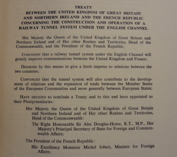 Treaty concerning the construction and operation of a railway tunnel system under the English Channel, 17 November 1973. Catalogue reference: FO 93/33/514