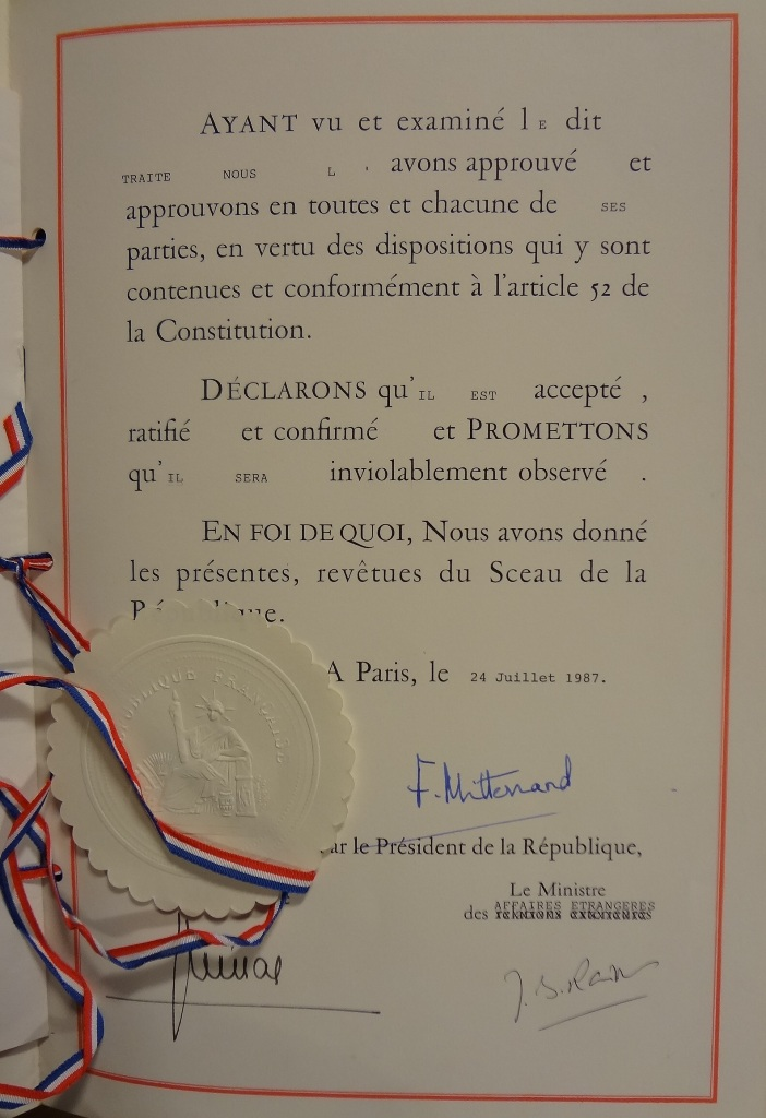French ratification - 24/07/1987 Catalogue reference: FO 93/33/550