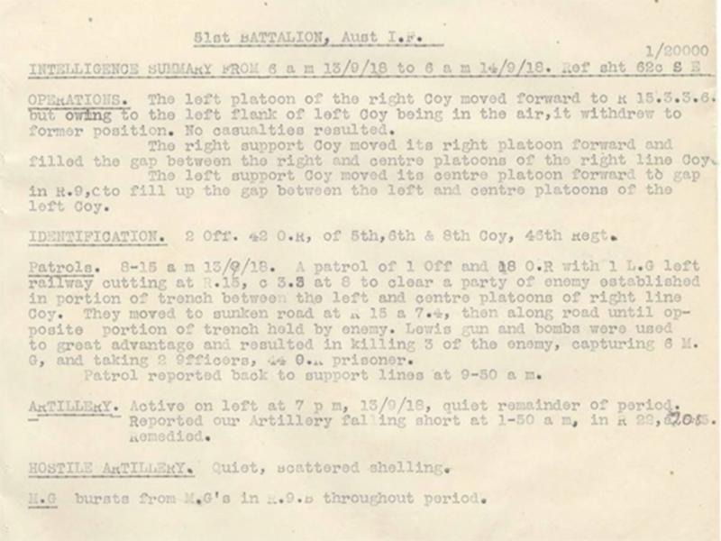 AIF 51st  Battalion unit war diary, catalogue reference WO 95/3523