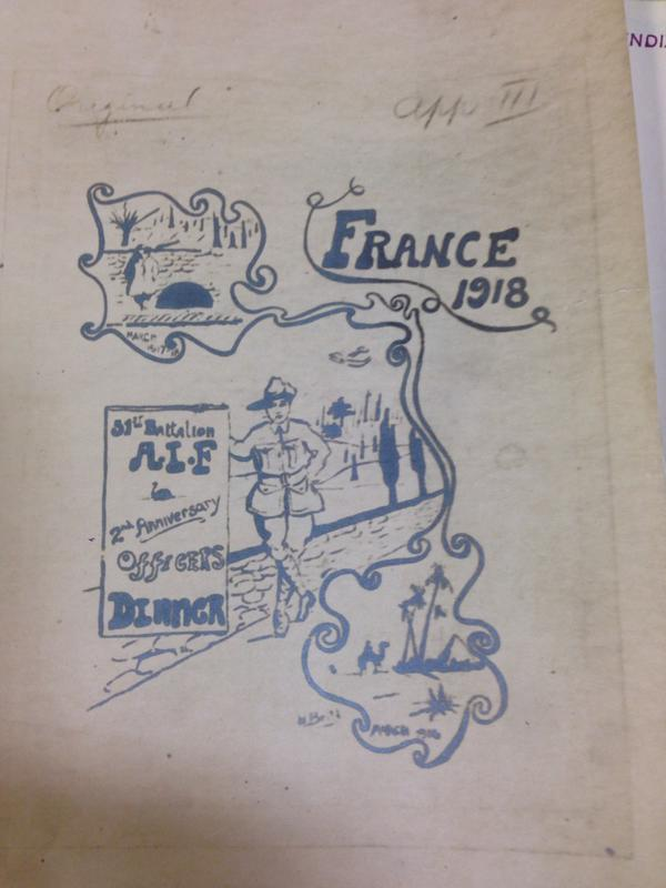 Menu cover, AIF 51st Battalion Unit War diary, catalogue reference WO 95/3523