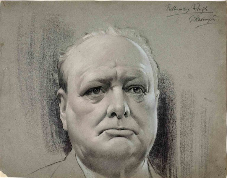 Drawing of Winston Churchill, artist: G Harington, 1939-1946 (catalogue reference: INF 3/64 )