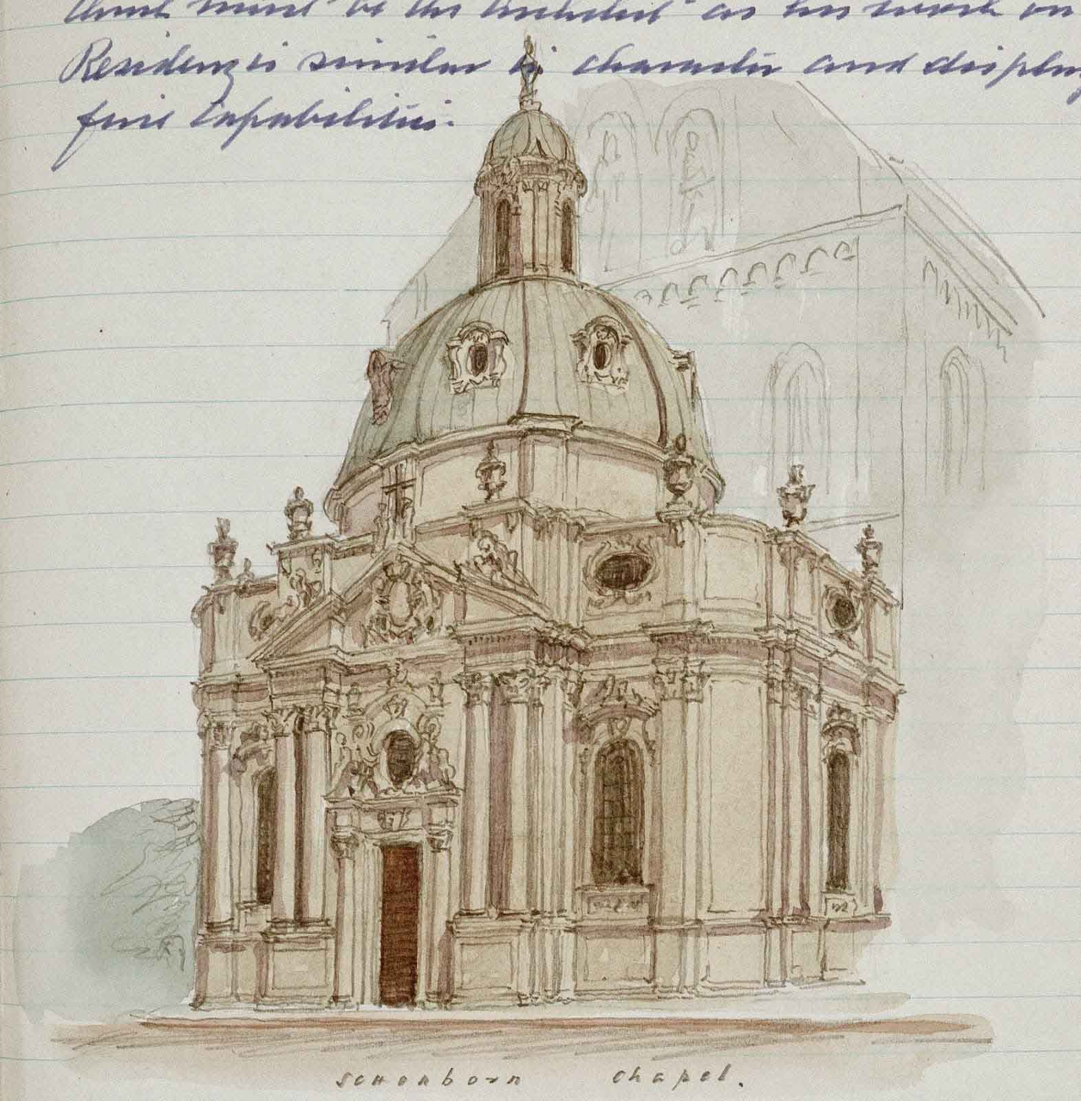 Architectural wonders: Johnson's illustration of Schonborn Chapel from his Grand Tour diary (U DFJR/1/1)