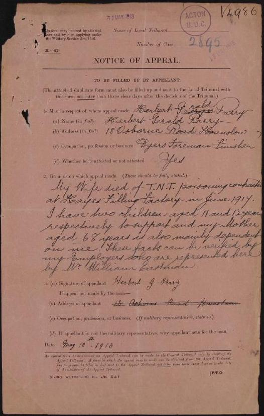 MH 47/102/93: Case paper of Herbert Gerald Perry.
