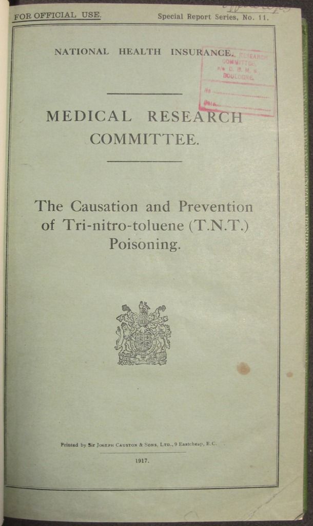 FD 4/11: Medical Research Council report into the causes and prevention of TNT poisoning.
