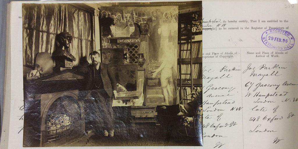 Photograph of L Alma Tadema [Royal Academy], in his studio, leaning his head on his hand against mantel piece.  February 29, 1896 (catalogue reference: COPY 1/423/590)