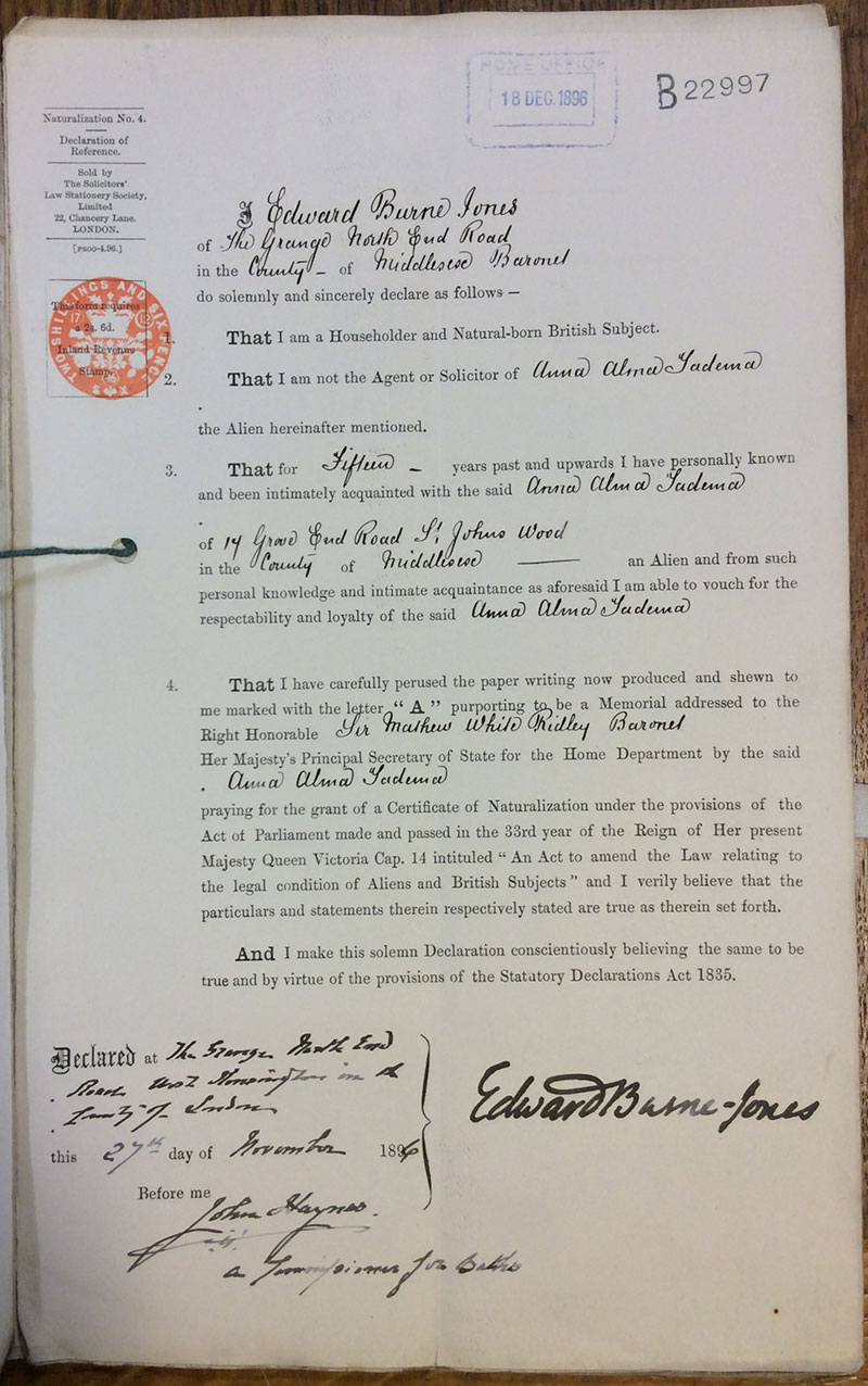 Naturalisation certificate: Anna Alma Tadema. From Belgium. Resident in London. Certificate A9421 issued 12 January 1897 (catalogue reference: HO 334/25/9421)