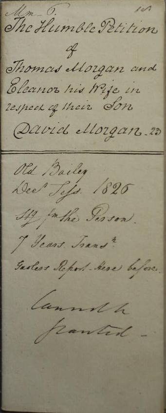 Detail from the petition on behalf of David Morgan, 1827 (catalogue reference: HO 17/67/147)